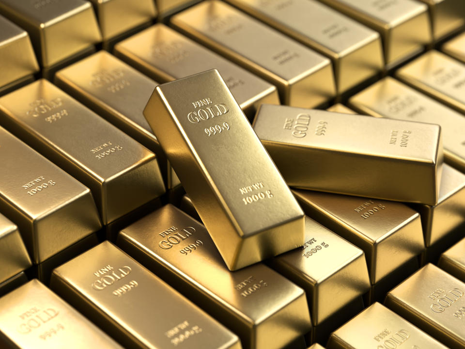 Gold bars and Financial concept,3d rendering,conceptual image.