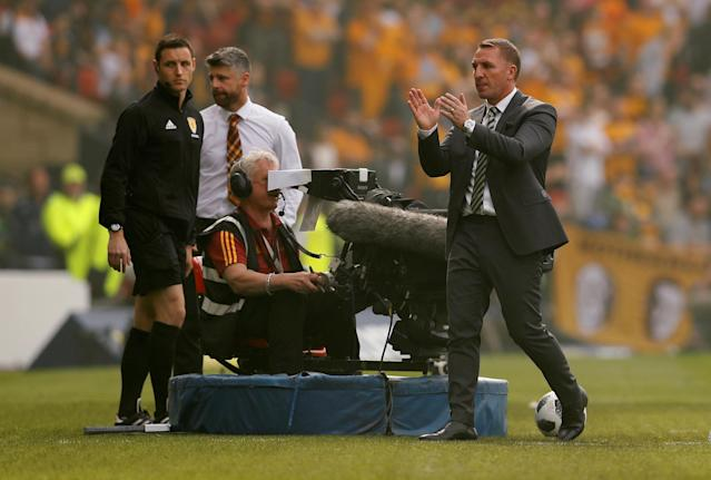Soccer Football - Scottish Cup Final - Celtic vs Motherwell - Hampden Park, Glasgow, Britain - May 19, 2018 Celtic manager Brendan Rodgers applauds the fans after the match Action Images via Reuters/Jason Cairnduff