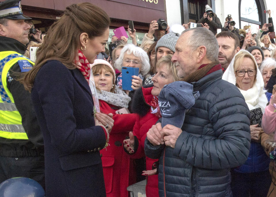 Kate Middleton greets teachers Denise Evans-Alford and Kevin Alford in South Wales