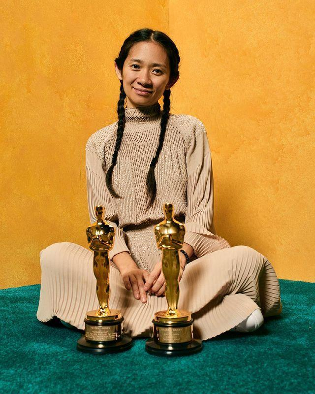 """<p>The director dominated the Academy Awards: She took home Best Director and Best Picture for her film <a href=""""https://people.com/movies/nomadland-director-chloe-zhao-brings-real-life-nomads-oscars-2021/"""" rel=""""nofollow noopener"""" target=""""_blank"""" data-ylk=""""slk:Nomadland"""" class=""""link rapid-noclick-resp""""><em>Nomadland</em></a>. Zhao has become the <a href=""""https://people.com/movies/oscars-2021-best-director-winner-chloe-zhao-first-asian-woman-win/"""" rel=""""nofollow noopener"""" target=""""_blank"""" data-ylk=""""slk:first Asian woman"""" class=""""link rapid-noclick-resp"""">first Asian woman</a> and second woman ever to win the Best Director category.</p>"""