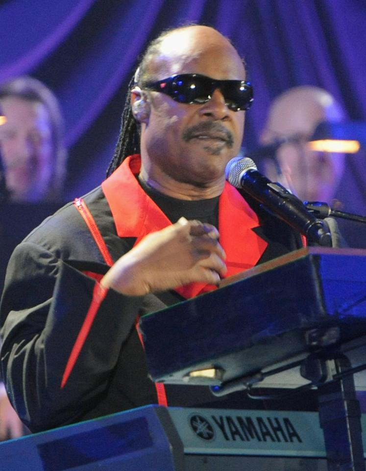 "LOS ANGELES, CA - OCTOBER 15:  (CALL FOR IMAGE, NO ARCHIVE, FOR EDITORIAL USE OF STORIES RELATED TO A DECADE OF DIFFERENCE: A CONCERT CELEBRATING 10 YEARS OF THE WILLIAM J. CLINTON FOUNDATION ONLY)  In this handout image provided by Getty Images, musician Stevie Wonder performs at ""A Decade of Difference:  A Concert Celebrating 10 Years of the William J. Clinton Foundation."" The star-studded affair, a charitable event organized to raise awareness around Clinton Foundation's efforts to improve global health, strengthen economies worldwide, promote healthier childhoods, and protect the environment, was held at the iconic Hollywood Bowl on October 15, 2011 in Los Angeles, California.  (Photo by Handout/Getty Images for Control Room)"