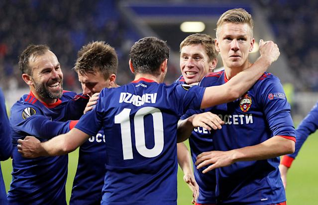 Soccer Football - Europa League Round of 16 Second Leg - Olympique Lyonnais vs CSKA Moscow - Groupama Stadium, Lyon, France - March 15, 2018 CSKA Moscow's Pontus Wernbloom celebrates with Alan Dzagoev after scoring their third goal REUTERS/Emmanuel Foudrot