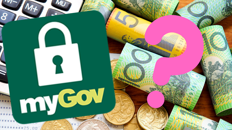 Pictured: myGov logo and Australian cash next to 2019 tax return. Images: Getty, myGov