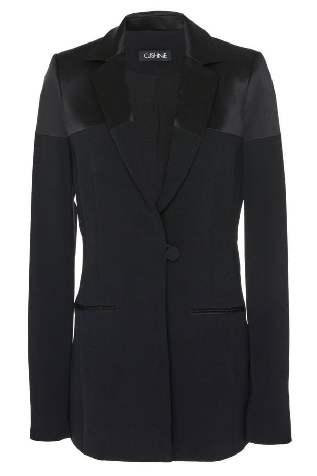 "<p>Cushnie Black Stretch Cady Blazer, $718, <a href=""https://www.cushnie.com/collections/jackets/products/r20-black-stretch-cady-blazer"" rel=""nofollow noopener"" target=""_blank"" data-ylk=""slk:available here"" class=""link rapid-noclick-resp"">available here</a>.</p>"