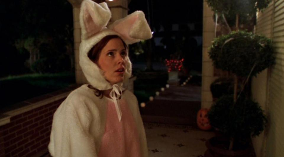 Emma as Anya in Buffy the Vampire Slayer in a Halloween episode where she dressed as a terrifying... bunny. Photo: 20th Television