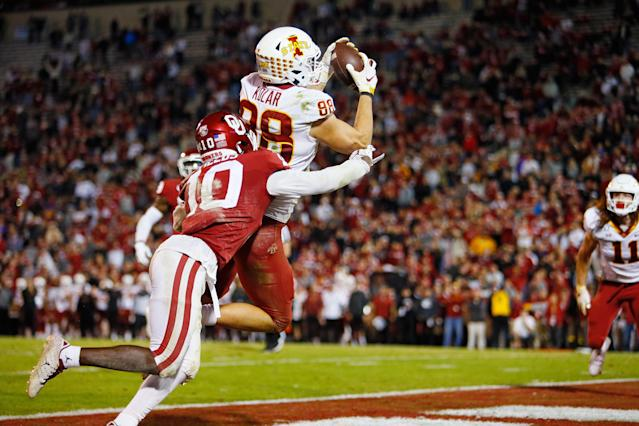 Iowa State's Charlie Kolar leads a standout group of Cyclones tight ends. (Photo by Brian Bahr/Getty Images)