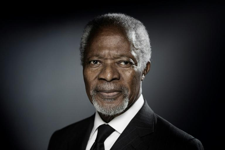 Former United Nations secretary-general Kofi Annan poses during a photo session in Paris in December 2017 -- the Nobel peace laureate was the first from sub-Saharan Africa to lead the world body