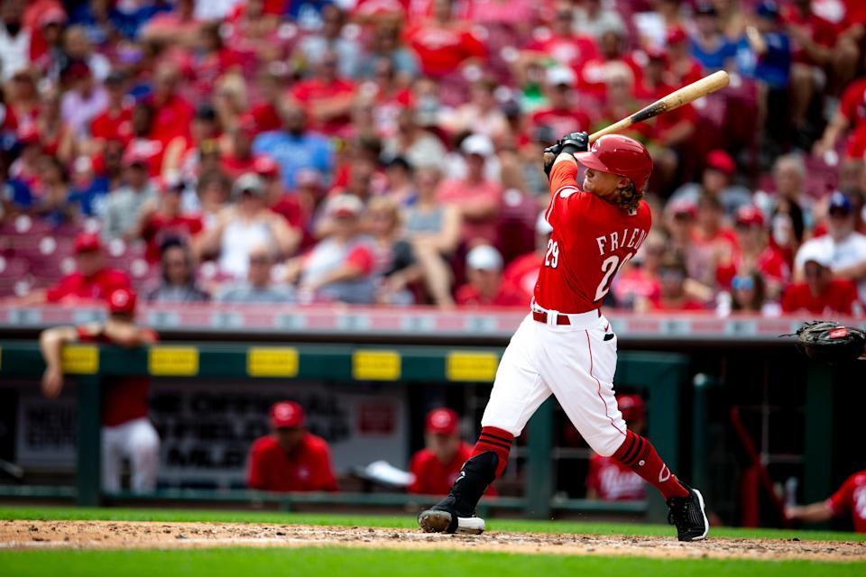 Cincinnati Reds left fielder TJ Friedl (29) hits his first home run of his MLB career in the sixth inning of the MLB baseball game between the Cincinnati Reds and the Los Angeles Dodgers on Sunday, Sept. 19, 2021, at Great American Ball Park in Cincinnati.