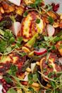 """<p>Halloumi, <a href=""""https://www.delish.com/uk/cooking/recipes/g28961707/aubergine-recipes/"""" rel=""""nofollow noopener"""" target=""""_blank"""" data-ylk=""""slk:aubergine"""" class=""""link rapid-noclick-resp"""">aubergine</a>, harissa and pomegranate seeds are a match-made in heaven. We love this halloumi salad, it's healthy, filling and perfect for lunch, dinner or as part of a feast. </p><p>Get the <a href=""""https://www.delish.com/uk/cooking/recipes/a30271089/halloumi-salad/"""" rel=""""nofollow noopener"""" target=""""_blank"""" data-ylk=""""slk:Aubergine, Harissa & Halloumi Salad"""" class=""""link rapid-noclick-resp"""">Aubergine, Harissa & Halloumi Salad</a> recipe.</p>"""