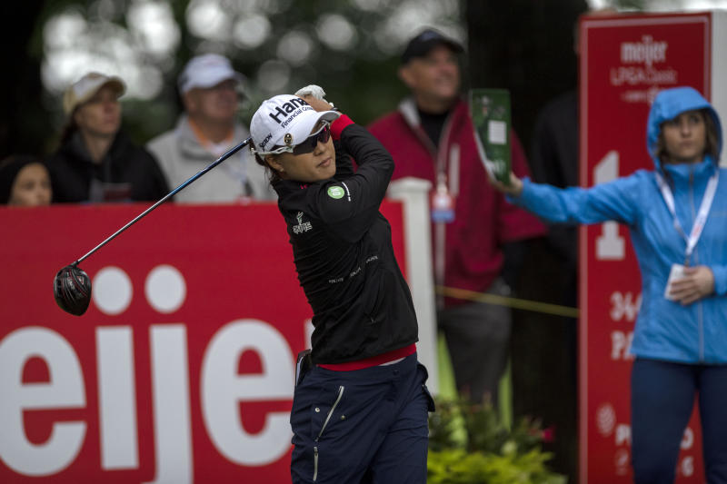 Minjee Lee, of Austrlia, tees off on the first hole during the first round of the Meijer LPGA Classic golf tournament at Blythefield Country Club on Thursday, June 13, 2019, in Belmont, Mich. (Alyssa Keown/The Grand Rapids Press via AP)