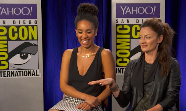 Pearl Mackie and Michelle Gomez chatted about their last days on 'Doctor Who' with Yahoo TV at San Diego Comic-Con 2017 (Photo: Yahoo)
