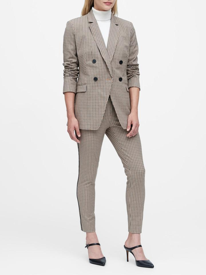 """<p>This <a href=""""https://www.popsugar.com/buy/Slim-Double-Breasted-Plaid-Blazer-498983?p_name=Slim%20Double-Breasted%20Plaid%20Blazer&retailer=bananarepublic.gap.com&pid=498983&price=199&evar1=fab%3Aus&evar9=46726271&evar98=https%3A%2F%2Fwww.popsugar.com%2Ffashion%2Fphoto-gallery%2F46726271%2Fimage%2F46726658%2FSlim-Double-Breasted-Plaid-Blazer&list1=shopping%2Cbanana%20republic%2Coffice%2Cworkwear&prop13=mobile&pdata=1"""" rel=""""nofollow"""" data-shoppable-link=""""1"""" target=""""_blank"""" class=""""ga-track"""" data-ga-category=""""Related"""" data-ga-label=""""https://bananarepublic.gap.com/browse/product.do?pid=493176002&amp;cid=1141395&amp;pcid=48422&amp;vid=1&amp;grid=pds_1_543_1#pdp-page-content"""" data-ga-action=""""In-Line Links"""">Slim Double-Breasted Plaid Blazer</a> ($199) will make you feel powerful.</p>"""
