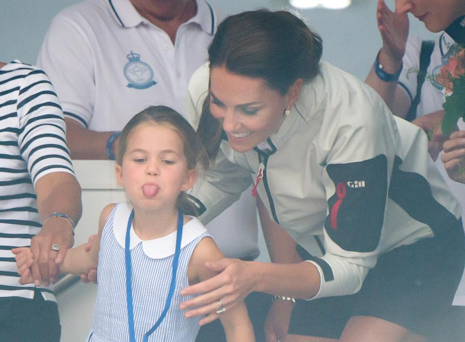 COWES, ENGLAND - AUGUST 08:  Princess Charlotte and Catherine, Duchess of Cambridge attend the presentation following the King's Cup Regatta on August 08, 2019 in Cowes, England. (Photo by Samir Hussein/WireImage)