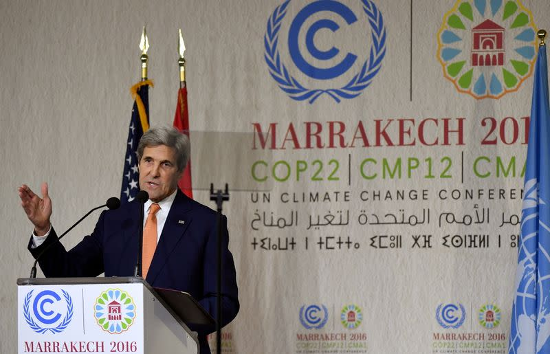FILE PHOTO: U.S. Secretary of State Kerry gives a speech at the COP22 Climate Change Conference in Marrakech