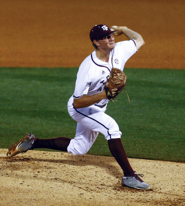 Texas A&M pitcher John Doxakis throws a pitch during the second inning of a Southeastern Conference Tournament NCAA college baseball game against Auburn, Thursday, May 24, 2018, in Hoover, Ala. (AP Photo/Butch Dill)