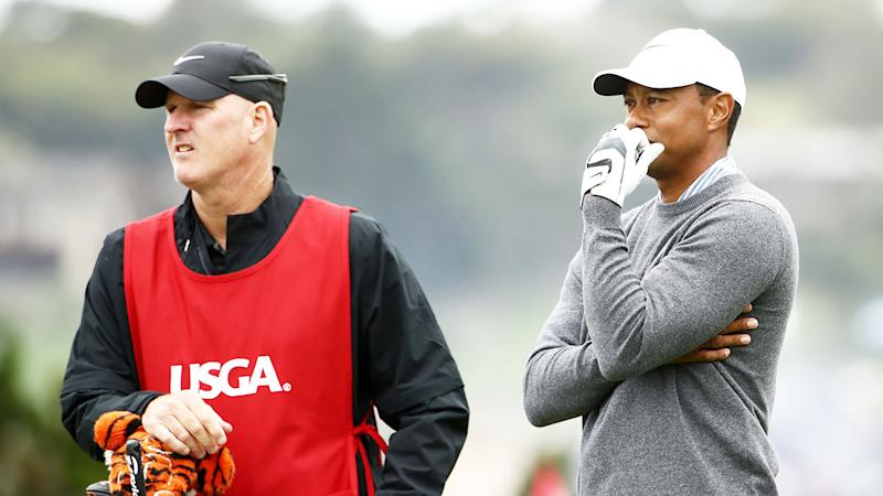 Tiger Woods and caddy Joe LaCava are being sued over an alleged altercation with a spectator. Pic: Getty
