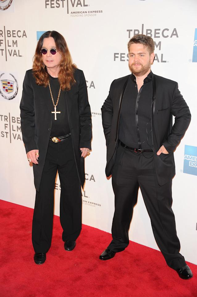 "NEW YORK, NY - APRIL 24:  Ozzy Osbourne and Jack Osborne attend the premiere of ""God Bless Ozzy Osbourne"" during the 2011 Tribeca Film Festival at BMCC Tribeca PAC on April 24, 2011 in New York City.  (Photo by Andrew H. Walker/Getty Images)"