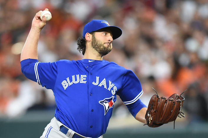 Mike Bolsinger pitches for the Toronto Blue Jays in May 2017.