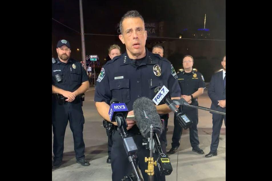 Acting Austin, Texas police chief Joseph Chacon gives an update on the 6th Street shooting (Austin PD/Facebook)
