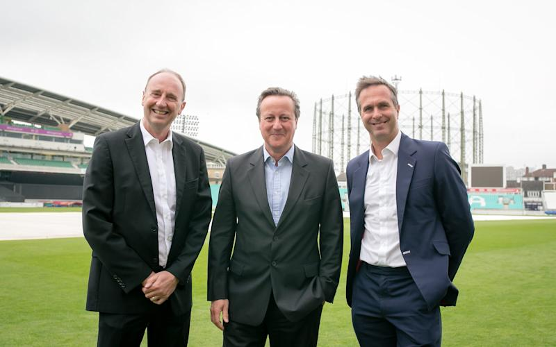 The former prime minister, Jonathan Agnew and Michael Vaughan helped raise more than £150,000 for the RCSF this week - Credit: Lara Arnott