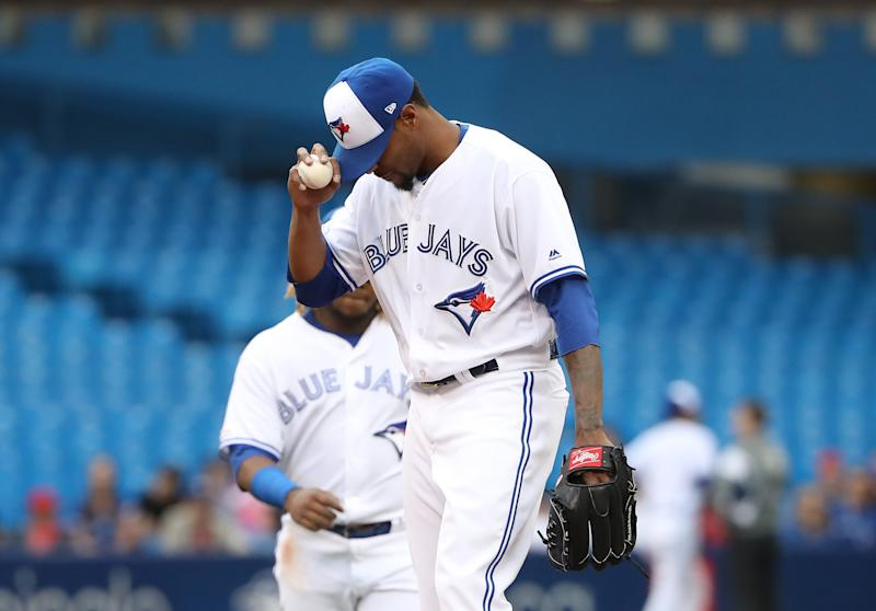 TORONTO, ON - JUNE 17: Edwin Jackson #33 of the Toronto Blue Jays reacts moments before being relieved in the second inning during MLB game action against the Los Angeles Angels of Anaheim at Rogers Centre on June 17, 2019 in Toronto, Canada. (Photo by Tom Szczerbowski/Getty Images)