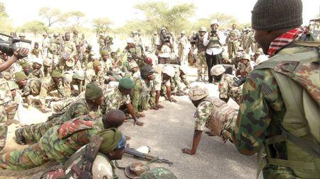 Nigerian army soldiers are pictured as they are deployed to take part in the battle against Boko Haram in Damask, Borno State, Nigeria