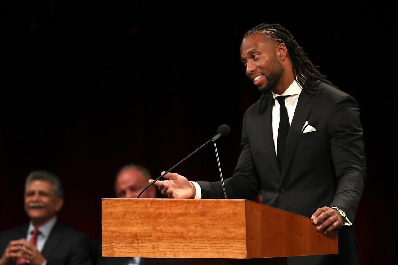 Wide Receiver for the Arizona Cardinals Larry Fitzgerald speaks during a memorial service to celebrate the life of of Sen. John Mc Cain at the North Phoenix Baptist Church on Aug. 30 2018 in Phoenix Ariz