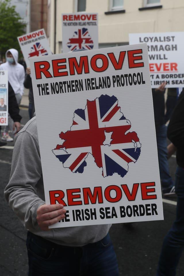 Loyalists take part in an anti-Northern Ireland Protocol rally in Portadown, Co Armagh, on Saturday