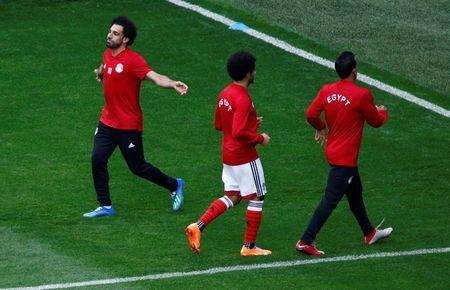Soccer Football - World Cup - Egypt Training - Saint Petersburg Stadium, Saint Petersburg, Russia - June 18, 2018 Egypt's Mohamed Salah with team mates during training REUTERS/Anton Vaganov