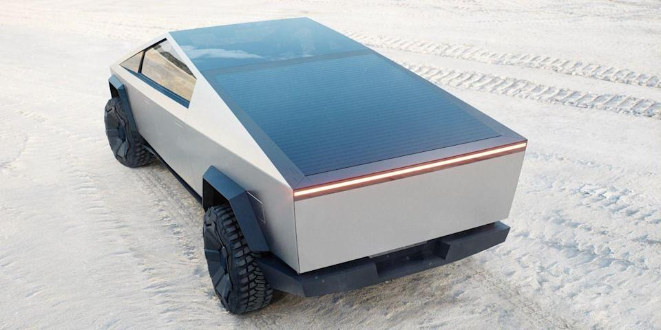 <p>When Elon Musk first announced the outlandish Tesla Cyber Truck, there were many who wondered if the post-apocalyptic and all-electric take on the traditional American pick-up would ever hit the roads. </p><p>Well, after a year which has felt like the apocalypse, perhaps we should no longer be surprised that it's really happening, with production due to begin towards the end of the year. It can go off-road, has armoured glass and is going to be huge in every sense, with space for six adults. It will also come in three varieties, the flagship Tri Motor All-wheel Drive model promising 500-mile range, 2.9sec 0-62mph, a 130mph top speed and a towing capacity of 6.4 tonnes.</p><p>Bizarre as it is, anything which celebrates the wedged-styling of the Seventies in such spectacular style has our vote.</p>