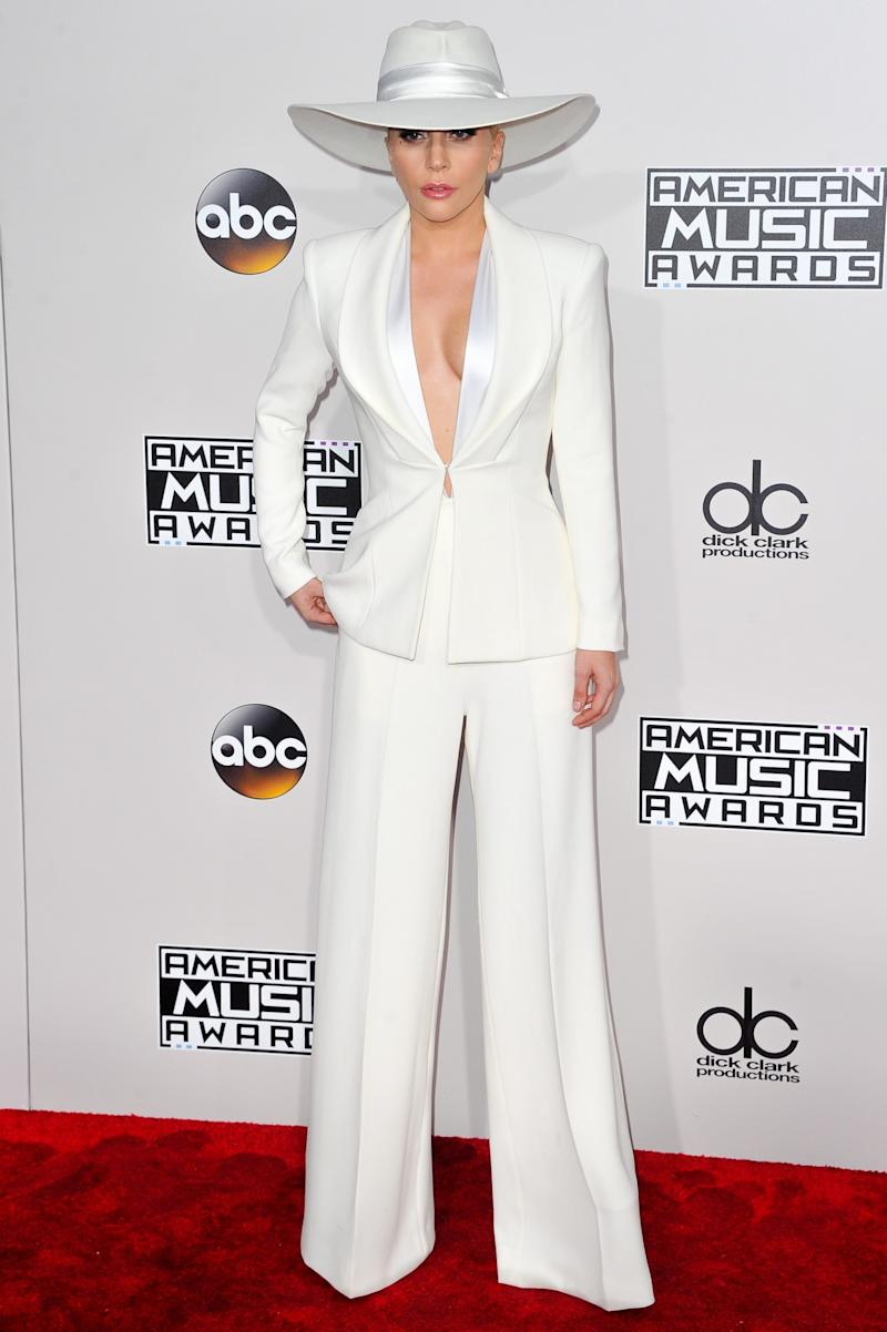 Lady Gaga on red carpet at the AMAs in Los Angeles.