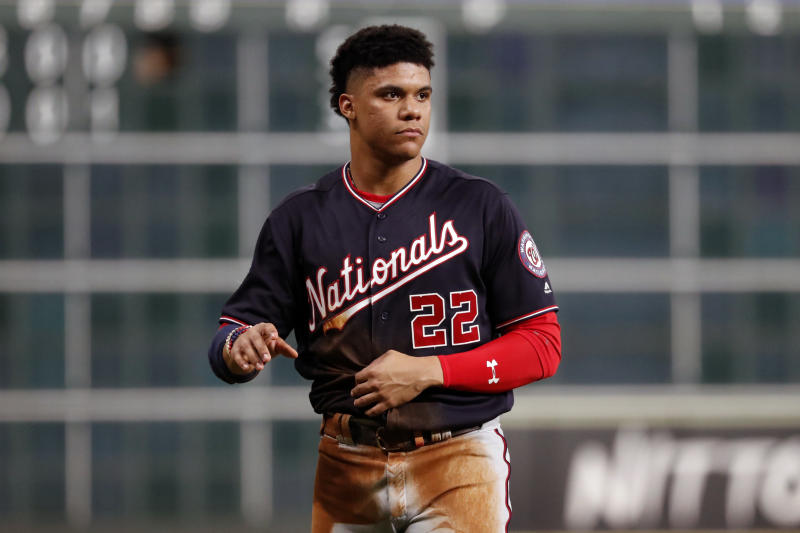 Young Nats star Juan Soto had three hits, a homer and stole a base in World Series Game 1. (Photo by Rob Tringali/MLB Photos via Getty Images)