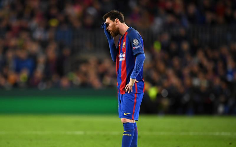 Lionel Messi of Barcelona is dejected during the UEFA Champions League Quarter Final second leg match between FC Barcelona and Juventus - Credit: GETTY
