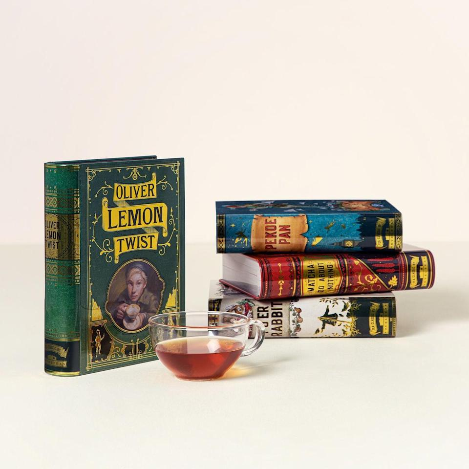 <p>Not only are the <span>Novel Tea Book Tins</span> ($35-$39) perfect for book-lovers, but they're also the ultimate punny find. Each ornate metal tin is inspired by a classic novel with a punny, tea-riffic twist. War and Peach contains white tea, pineapple pieces, peach pieces, chamomile, and sunflower. The Picture of Earl Grey contains organic jasmine green tea, organic black tea, and organic rose petals. Matcha Do About Nothing contains pure matcha tea powder. Oliver Lemon Twist contains organic green tea, organic ginger root, organic lemongrass, and organic lemon myrtle. Pu'er Rabbit contains pure pu'erh tea. Pekoe Pan contains black tea and vanilla.</p>
