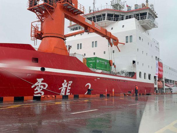 PHOTO: China's first domestically built polar icebreaker Xuelong 2, or Snow Dragon 2, moors at a dock, July 15, 2020, in Shanghai. (Lu Congbing/VCG via Getty Images)