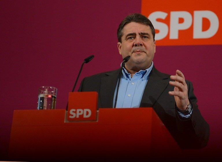 Sigmar Gabriel, chairman of Germany's Social Democratic Party (SPD), addresses the press, January 27, 2013, in Potsdam near Berlin. Germany's opposition Social Democrats mark their 150th birthday Thursday, with French President Francois Hollande as the only foreign speaker and conservative Chancellor Angela Merkel in the audience
