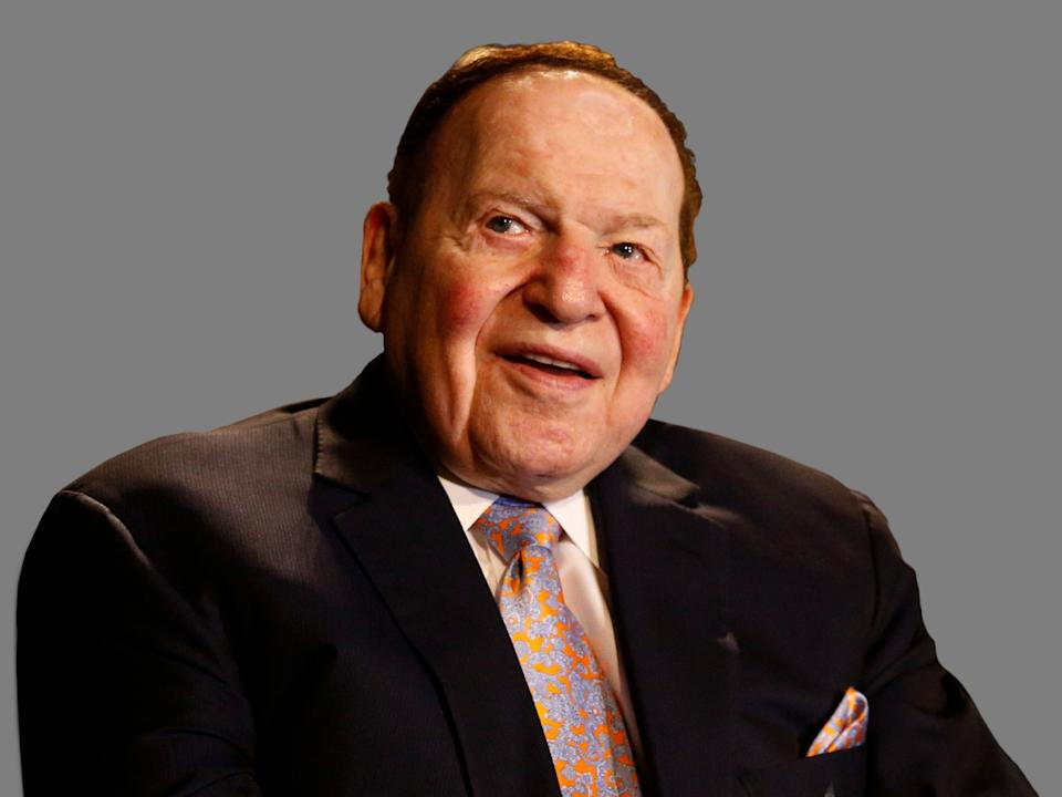 Sheldon Adelson headshot, as Las Vegas Sands Corporation CEO, graphic element on gray