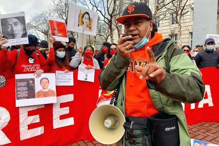 Image: Ko Ko Lay, organizer and spokesperson for the Free Burma Action Committee--San Francisco, helps lead a protest at U.N. Plaza (Courtesy Ko Ko Lay)