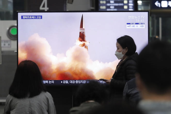 People watch a TV showing an image of North Korea's new guided missile during a news program at the Suseo Railway Station in Seoul, South Korea, Friday. March 26, 2021. In resuming its ballistic testing activity after a yearlong pause, North Korea has demonstrated a potentially nuclear-capable weapon that shows how it continues to expand its military capabilities amid a stalemate in diplomacy with the United States. (AP Photo/Ahn Young-joon)