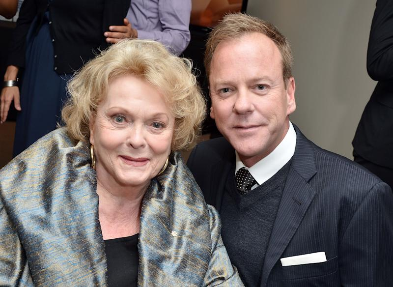Kiefer Sutherland and his mother, actress Shirley Douglas, at an event in Toronto in 2012. Her father was well-respected Canadian politician Tommy Douglas. (Photo: George Pimentel/Getty Images)