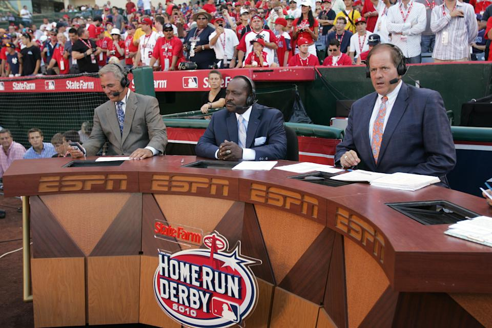ESPN's Bobby Valentine, Joe Morgan and Chris Berman broadcasting during the 2010 State Farm Home Run Derby at Angel Stadium of Anaheim on July 12, 2010 in Anaheim, California. (Photo by Michael Zagaris/Getty Images)