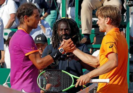 Tennis - Monte Carlo Masters - Monaco, 22/04/2017. Rafael Nadal of Spain shakes hands with David Goffin of Belgium at the end of their match. REUTERS/Eric Gaillard