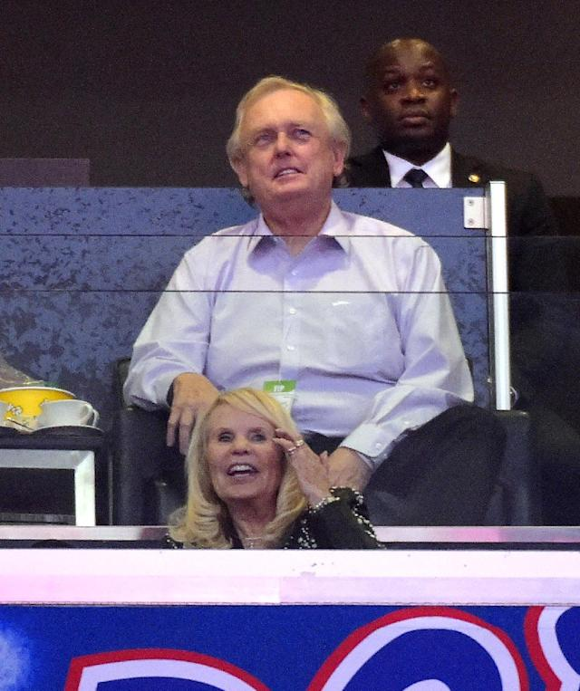 Los Angeles Clippers co-owner Shelly Sterling, below, watches the Clippers play the Oklahoma City Thunder along with her attorney, Pierce O'Donnell, in the first half of Game 3 of the Western Conference semifinal NBA basketball playoff series, Friday, May 9, 2014, in Los Angeles
