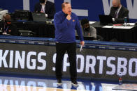 Head coach Tom Thibodeau of the New York Knicks reacts during the first half of an NBA basketball game against the Minnesota Timberwolves Sunday, Feb. 21, 2021, in New York. (Sarah Stier/Pool Photo via AP)