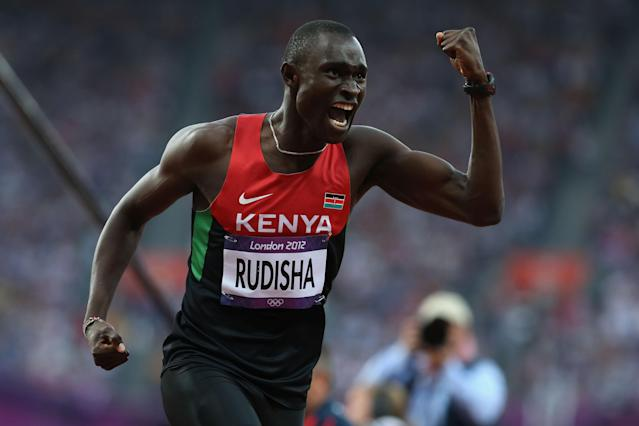 LONDON, ENGLAND - AUGUST 09: David Lekuta Rudisha of Kenya celebrates after winning gold and setting a new world record in the Men's 800m Final on Day 13 of the London 2012 Olympic Games at Olympic Stadium on August 9, 2012 in London, England. (Photo by Streeter Lecka/Getty Images)