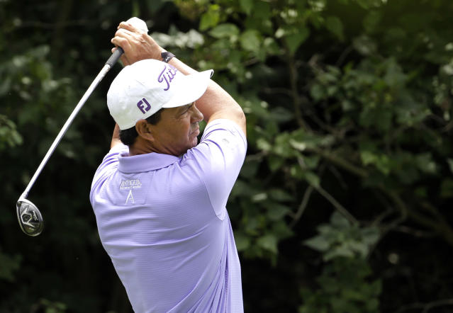 Tom Pernice Jr., follows through on a tee shot on the17th during the pro-am for the Encompass Championship golf tournament Thursday, July 9, 2015, in Glenview, Ill. (AP Photo/Nam Y. Huh)