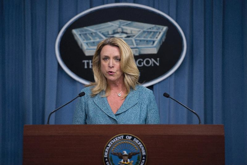 US air force secretary Deborah Lee James speaks at the Pentagon, in Washington, on October 27, 2015