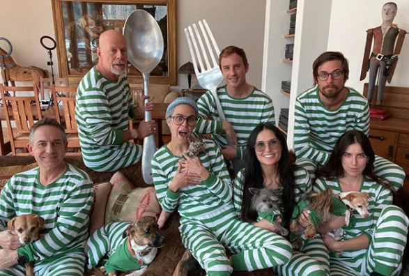 Demi Moore and Bruce Willis blended family in striped onsies and giant cutlery on ranch