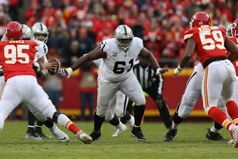 KANSAS CITY, MO - DECEMBER 30: Oakland Raiders center Rodney Hudson (61) looks to block after the snap in the first quarter of an NFL game between the Oakland Raiders and Kansas City Chiefs on December 30, 2018 at Arrowhead Stadium in Kansas City, MO. (Photo by Scott Winters/Icon Sportswire via Getty Images)