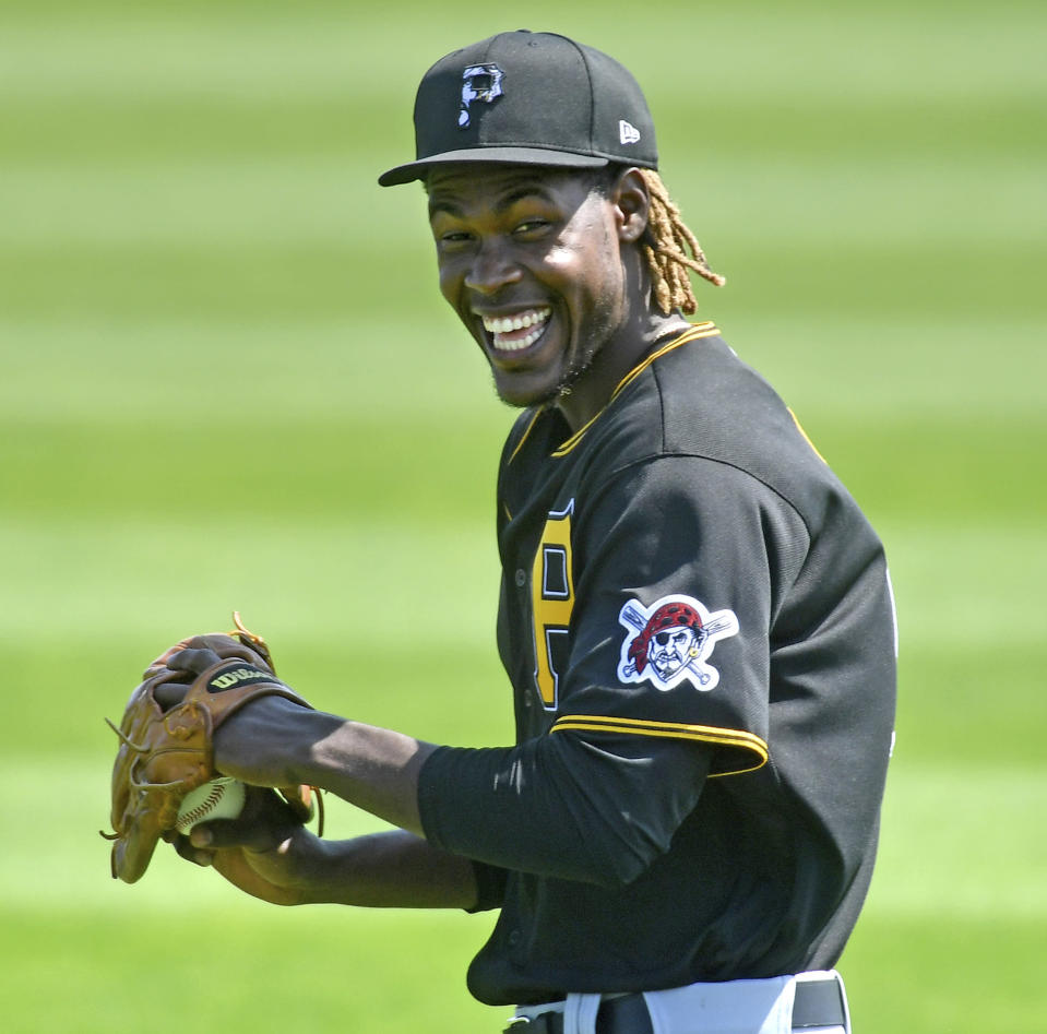 Pittsburgh Pirates shortstop Oneil Cruz warms up before taking on the Tampa Bay Rays in a spring training baseball game, Wednesday, March 3, 2021, at Charlotte Sports Park in Port Charlotte, Fla. (Matt Freed/Pittsburgh Post-Gazette via AP)